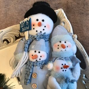 Other - Blue & White Snowman Family Holiday Decor